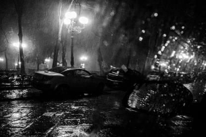 pioggia su piazza d'Azeglio, Firenze, febbraio 2014
